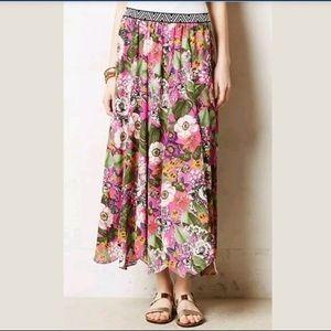 Maeve Anthropologie pink floral skirt